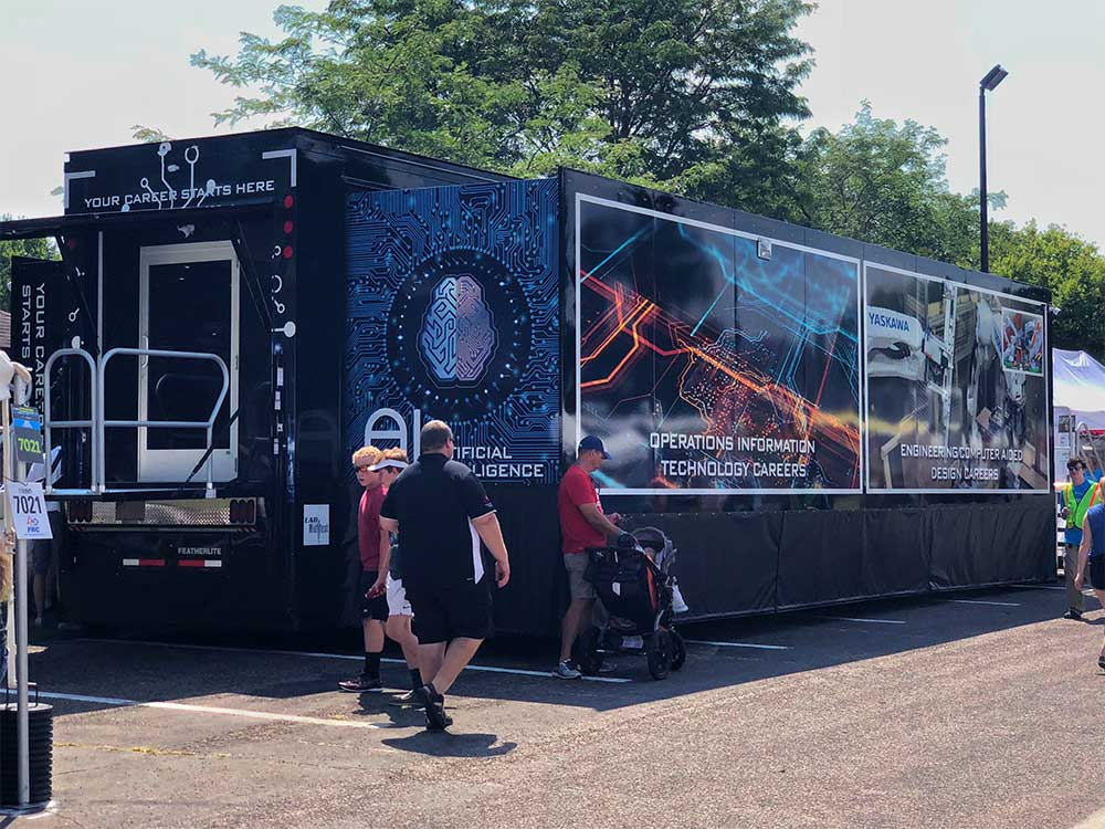 The Mobile Skills Lab is a sleek, 53' long trailer
