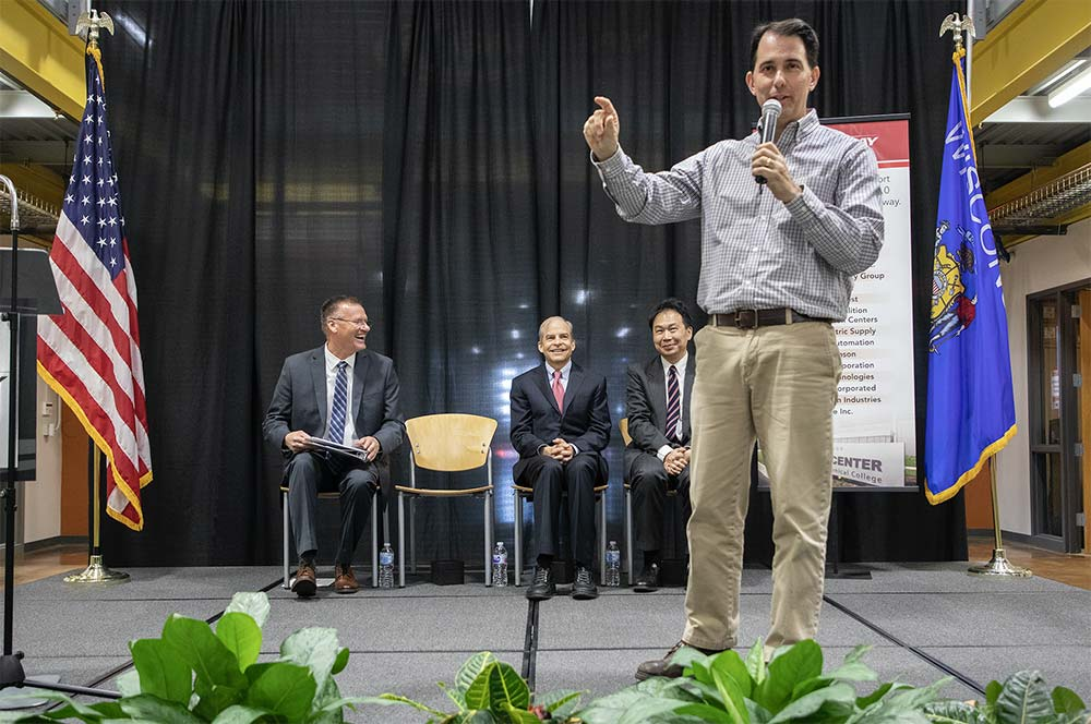 """""""Scott Walker addresses the crowd at the Gateway expansion ceremony"""