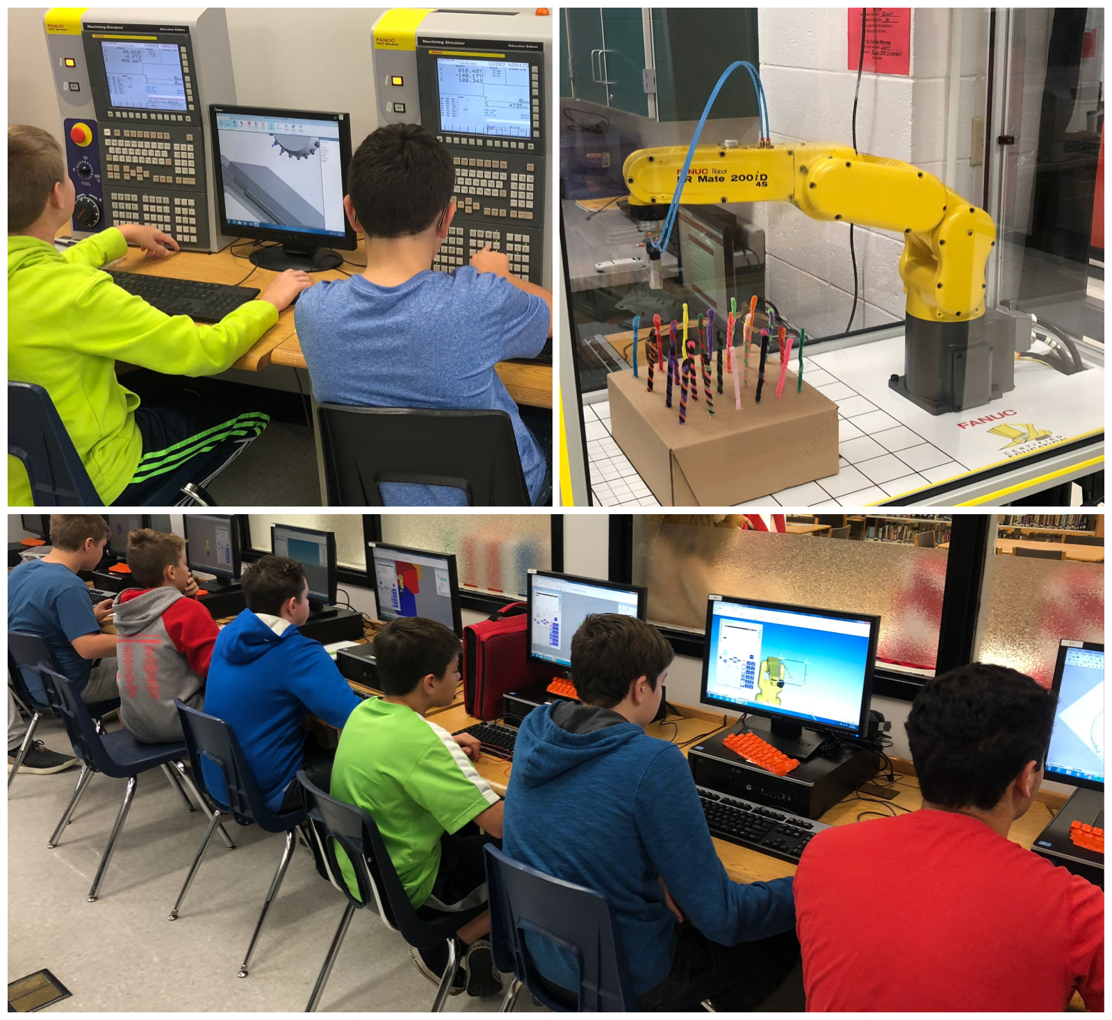 Lomira Middle School students work with ROBOGUIDE software, CNC Simulators, and FANUC Cert Cart