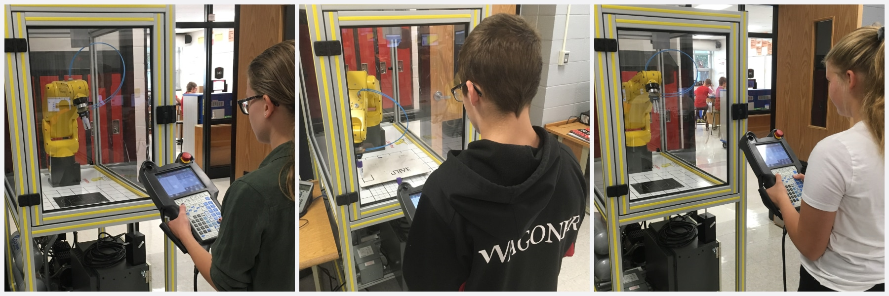 Lomira 8th graders work with their new robot