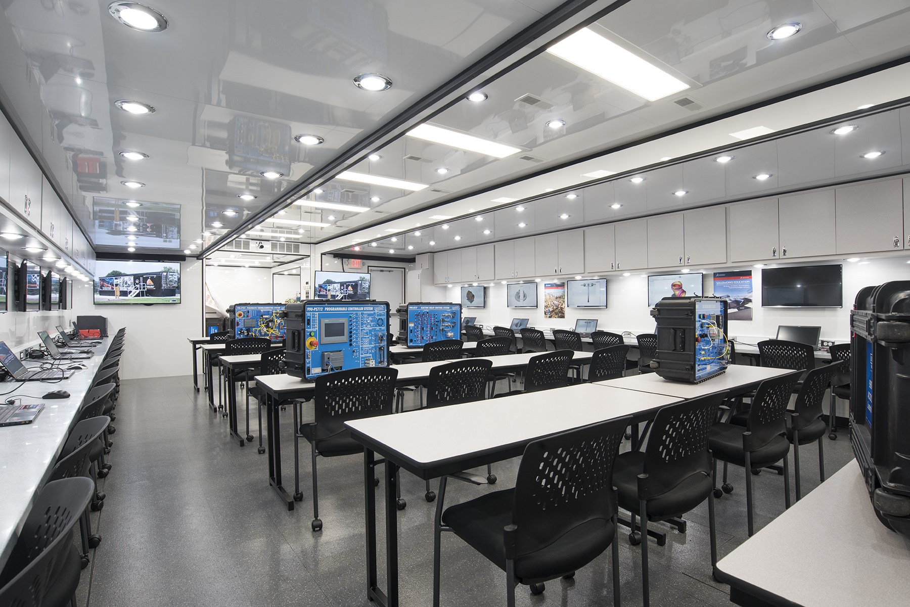 The Ashley Furniture Mobile Skills Lab loaded with Industry 4.0 educational equipment