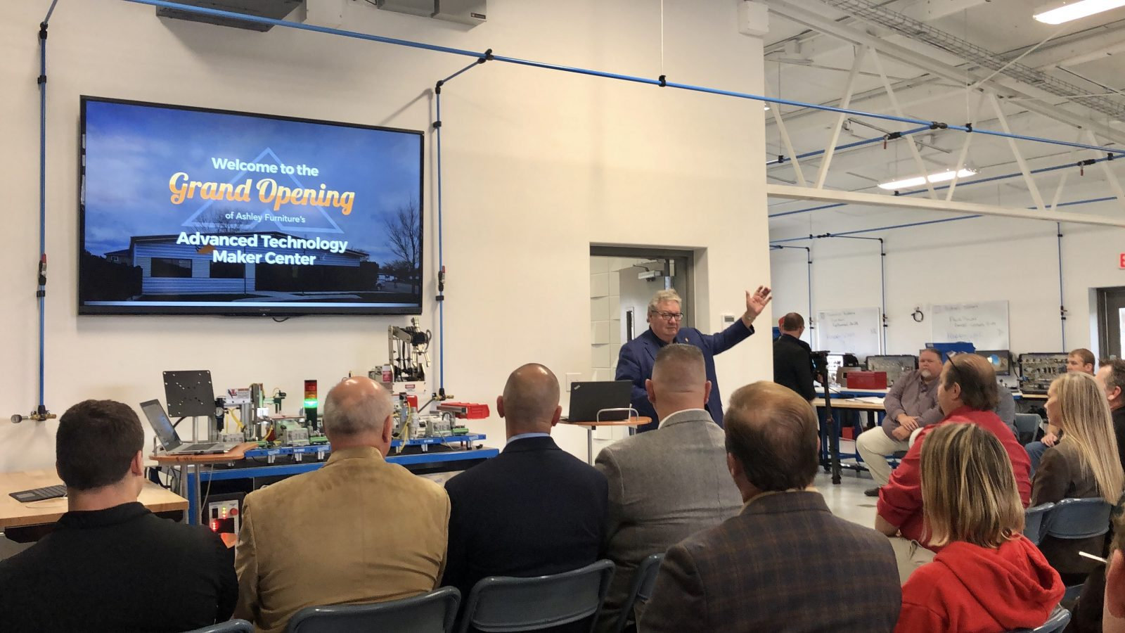 Ron Wanek, Founder & Chairman of Ashley Furniture, addresses the crowd at the Advanced Technology Maker Center
